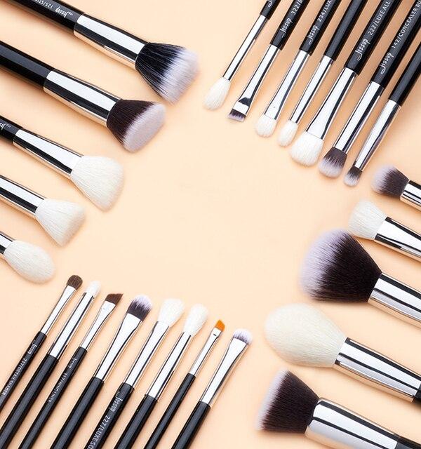 Jessup Black/Silver Makeup brushes set professional with Natural Hair Foundation Powder Eyeshadow Make up Brush Blush 6pcs-25pcs 5