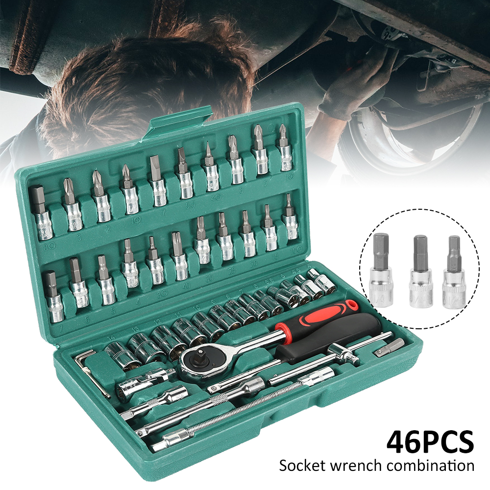 46pcs Sleeve Wrench Assembly Ratchet Wrench Set Car Motorcycle Bicycle Combination Repair Hand Tools Sleeve Socket Spanner Kit