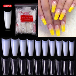 100/500pcs French Ballerina Fake Nail Tips Artificial False Nails Acrylic Half Tips Clear Gel Manicure Tip For Nails Art Salon