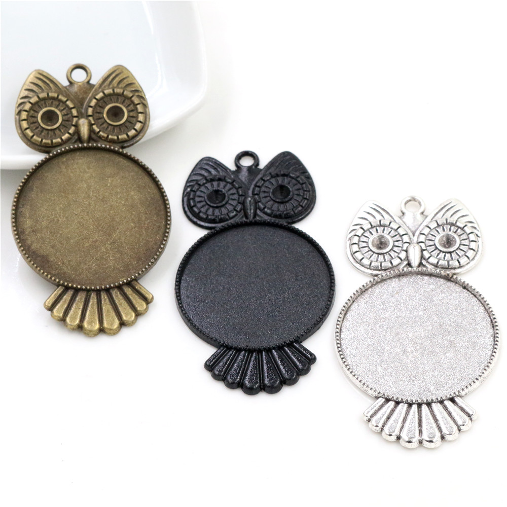3pcs 30mm Inner Size Antique Silver Plated Black And Bronze Plated Owl Style Cabochon Base Setting Charms Pendant