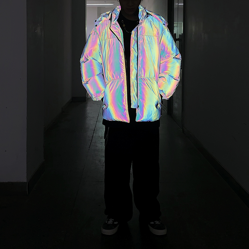 Jaqueta de inverno masculino grosso arco íris reflexivo casacos parka casaco moda jovem hip hop solto jaqueta streetwear outwear roupas masculinas - 2