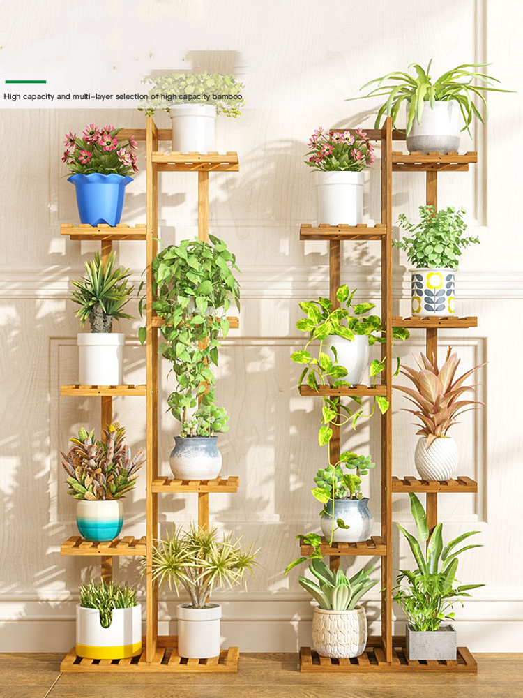 Multi-storey Room Built-in Rack Balcony Simplicity Meaty Flowerpot Frame Solid Wood A Living Room To Ground Province Space
