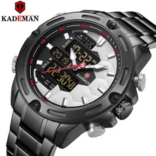 New Kademan Brand Mens Sports Watch Full Steel Strap LED Dual Display Unique Design Fashion Quartz Wristwatch Waterproof K9070