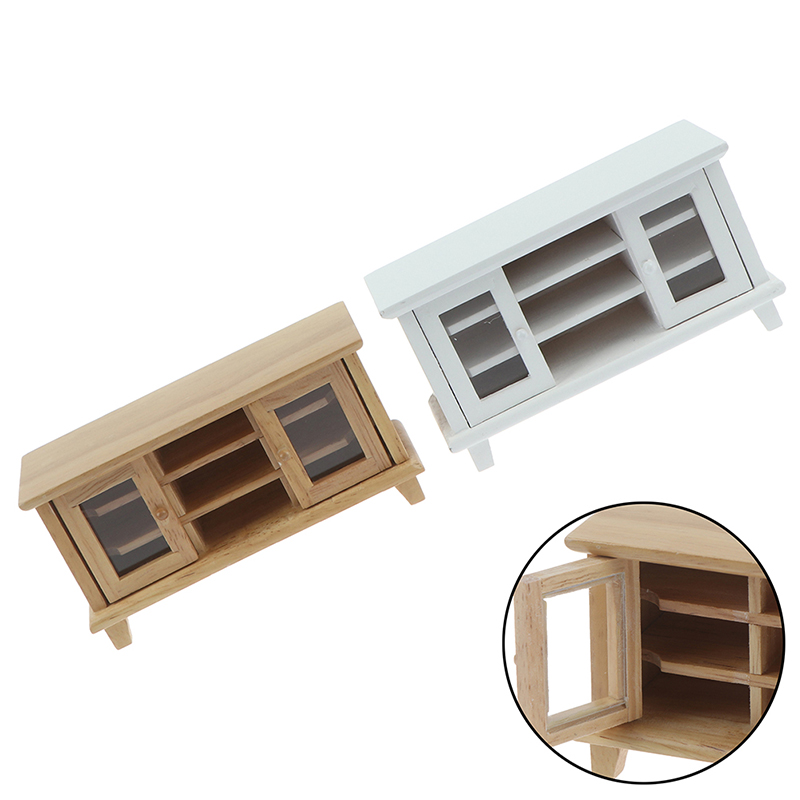 New Arrival Handcrafted 1/12 Scale Dollhouse Miniatures TV Cabinet Stand Table Wooden Toys Furniture Dolls House