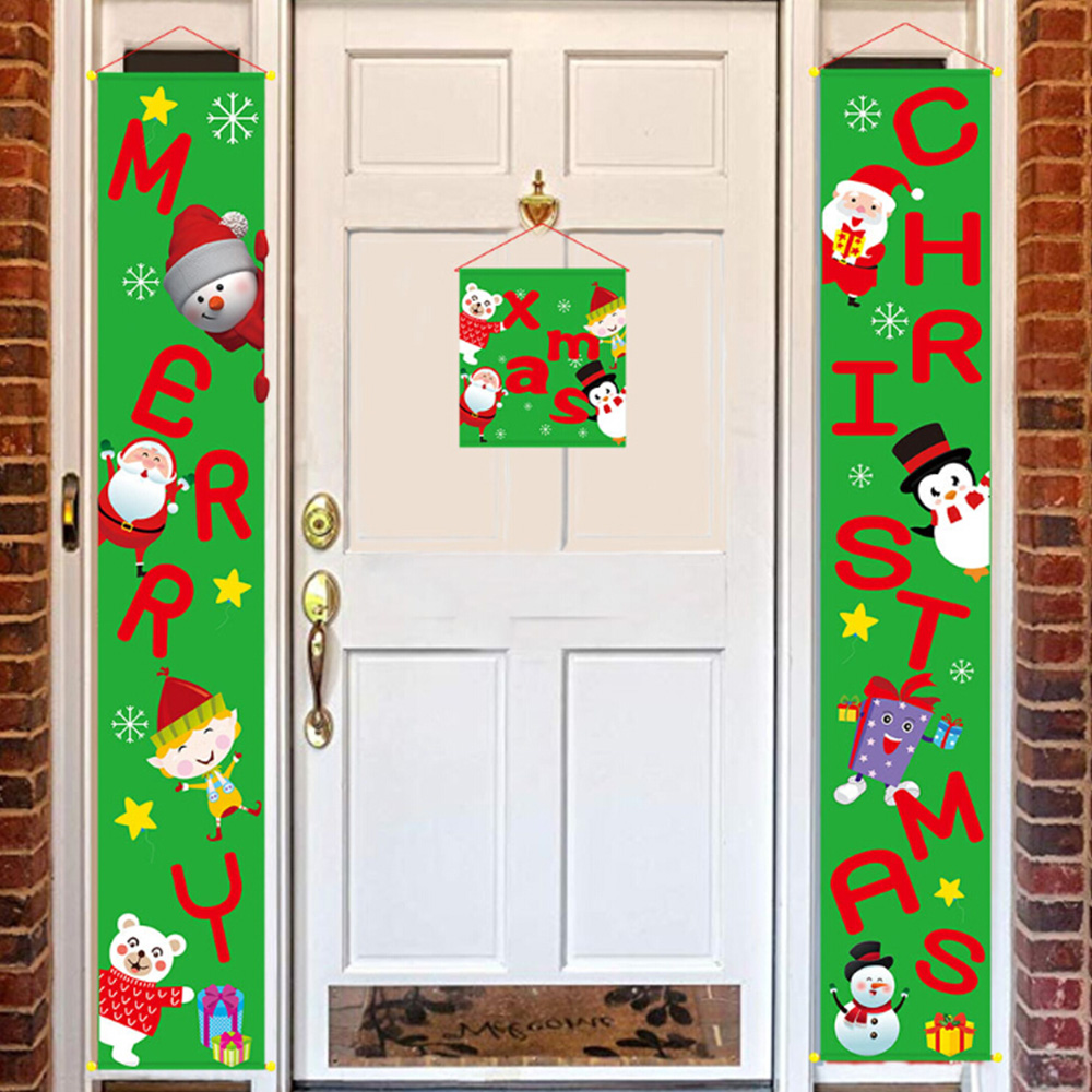 3 Pcs Merry Christmas Banners Front Door Christmas Porch Banners Porch Sign Hanging Xmas Home Party Decorations