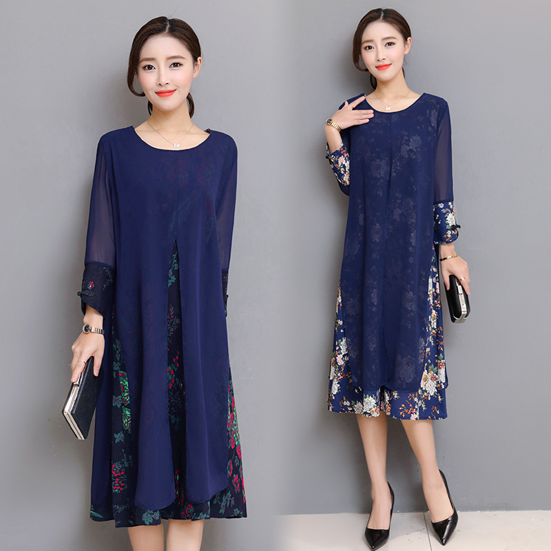 Extra Large WOMEN'S Dress WOMEN'S Dress New Style Long Sleeve Slit Base Skirt Fashion Set Dress A