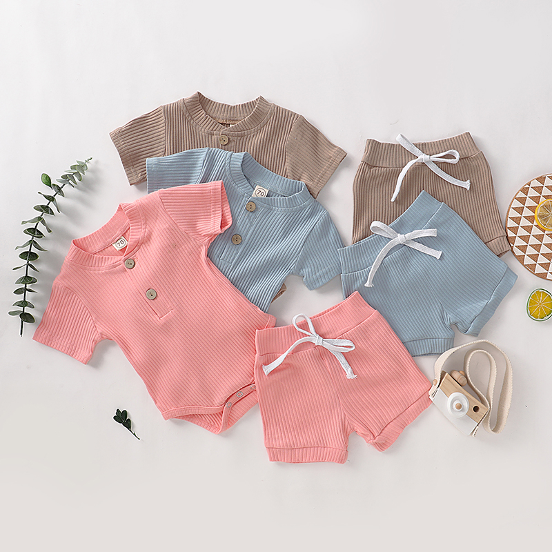 HITOMAGIC 2020 New Arrival Baby Summer Clothing Girls Boys Newborn Clothes Shorts Set Bodysuit Ribbed 2Pcs Jumpsuit Baby Kids