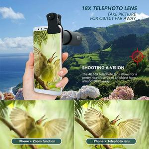 Image 2 - 18X Zoom Telephoto Lens with Travel Case Aluminum HD Monocular Telescope Phone Camera Lens for iPhone Samsung Smartphone Mobile