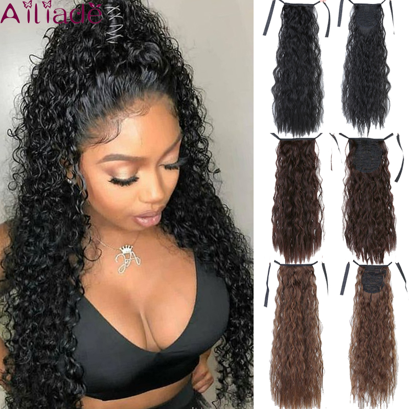 AILIADE 22inch Long Kinky Curly Ponytail Clip In Hair Extension For Women Synthetic Fiber Drawstring Ponytail Natural Black