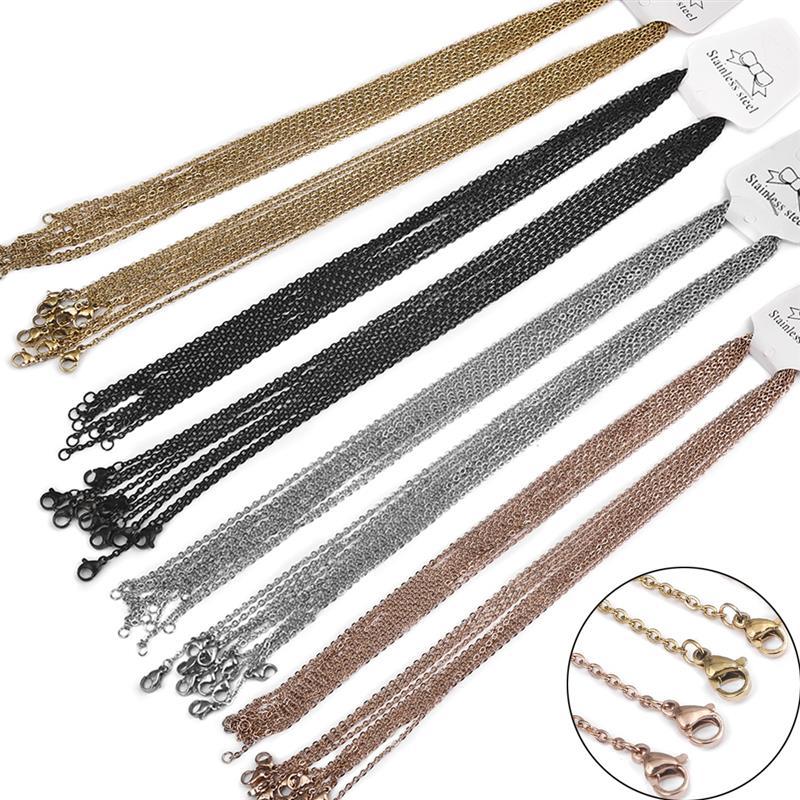 10pcs/Lot Stainless Steel Chain 2mm Width Rose Gold Black Gold Silver Color 50cm Necklaces Women/Men DIY Pendant Chain Bulk Sale