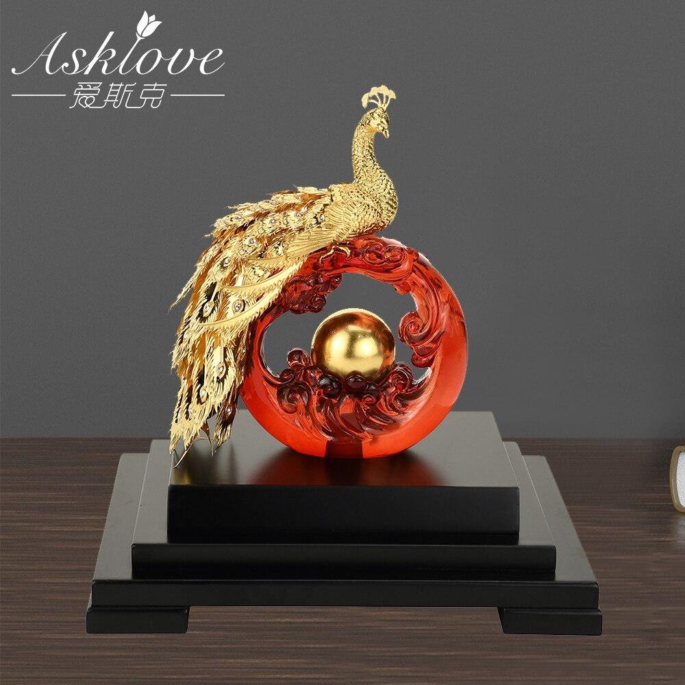 Asklove Gold Phoenix Ornament 3D Phoenix Statue 24K Gold Foil Decoration Miniature Figurines Desktop Crafts Home Decor Gifts