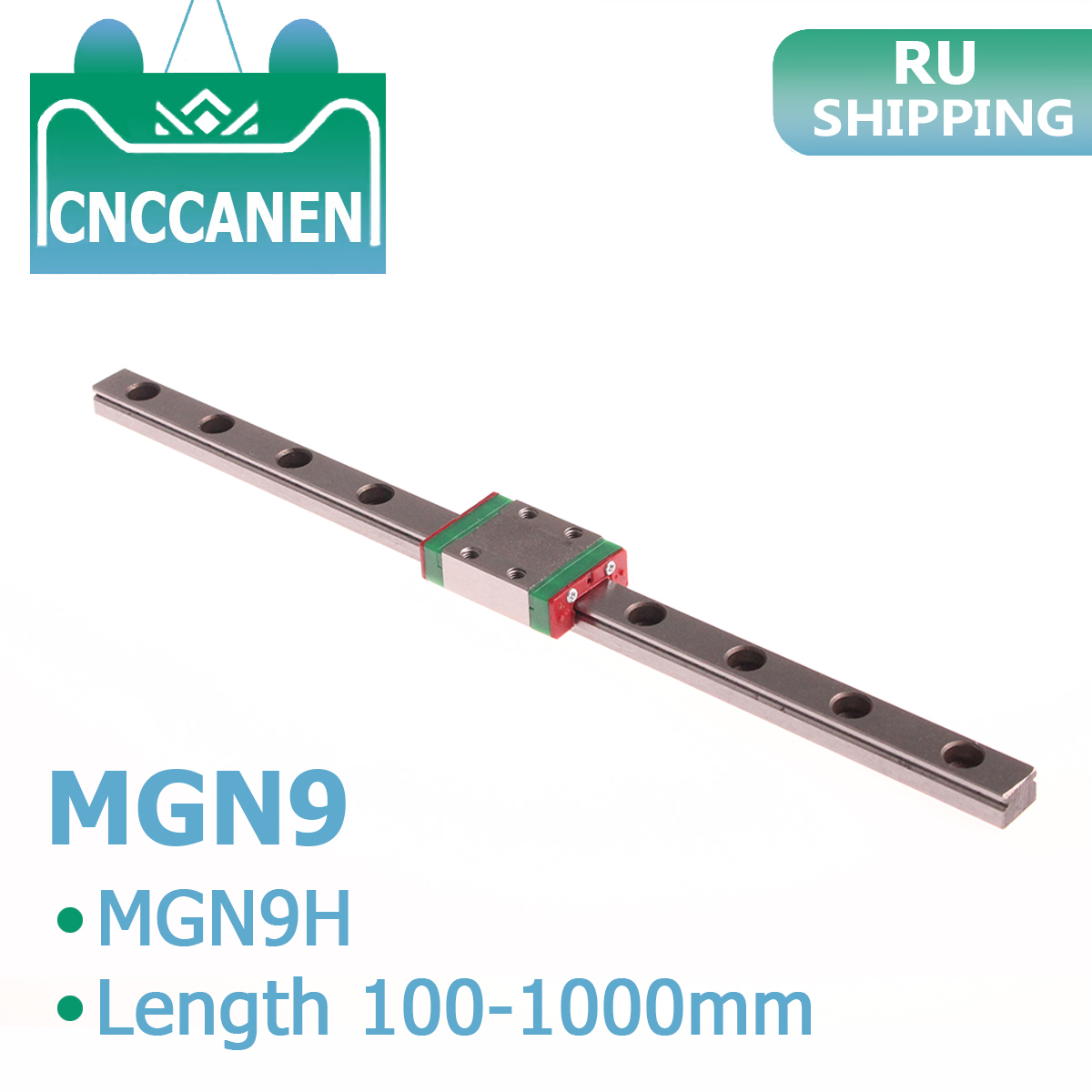 MGN9 Miniature Linear Rail Slide 100mm 250mm 300mm 350mm 400mm 1000mm 1PCS MGN Linear Guide MGN9H Carriage Block CNC 3D Printer