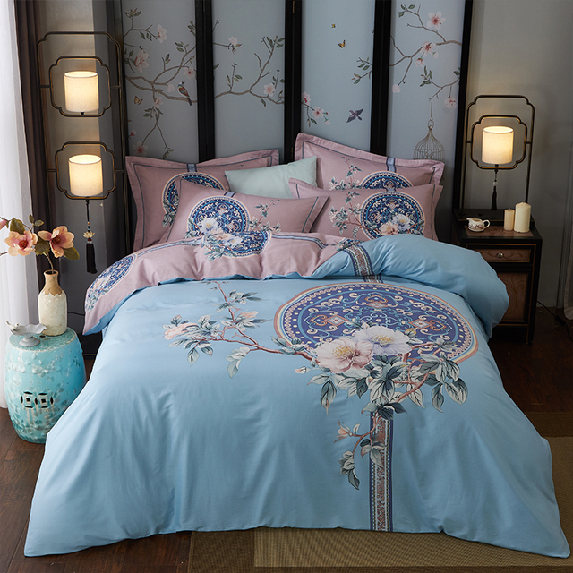 100% cotton duvet cover+ flat sheet+pillowcase, 4pcs, king / queen bed set