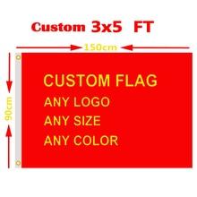 Пользовательские флаг 3x5 футов Горячая баннер бесплатный дизайн 100D полиэстер спортивная реклама клуб открытый флаг латунные люверсы