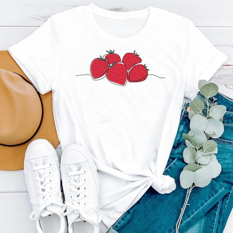 2021 Beach Holiday Summer Short Sleeve Women Cartoon Strawberry Cute Fashion Clothes Print Tshirt Female Tee Top Graphic T-shirt 5