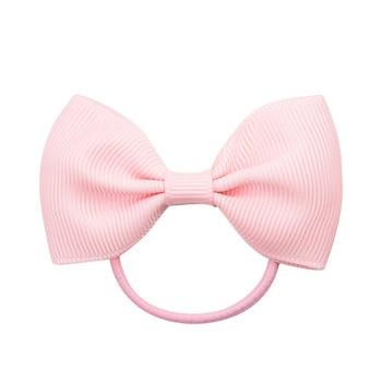 20Pcs/lot Solid Grosgrain Ribbon Bows For Baby Girls Ponytail Holder Hair Bands Elastic Rope Handmade Headband Hair Accessories 4