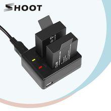 SHOOT – chargeur de batterie à double Port, avec 2 batteries de 900mAh, pour caméra d'action Sjcam M10 Sj4000 Sj5000 Sj5000, accessoire