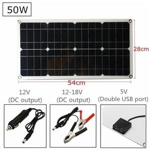Image 2 - פנל סולארי 50W Monocrystalline הסיליקון סלולרי עבור סוללה טלפון סלולרי מטענים זוגי Lighter USB ממשק 12 V/ 5V