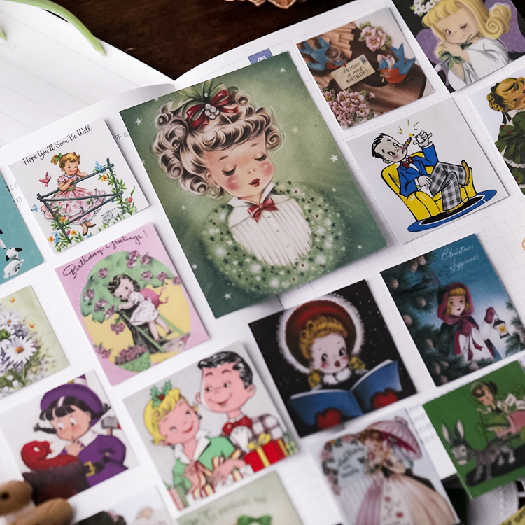 Vintage Retro Girl Stickers Crafts And Scrapbooking Stickers Kids Toys Book Decorative Sticker DIY Stationery