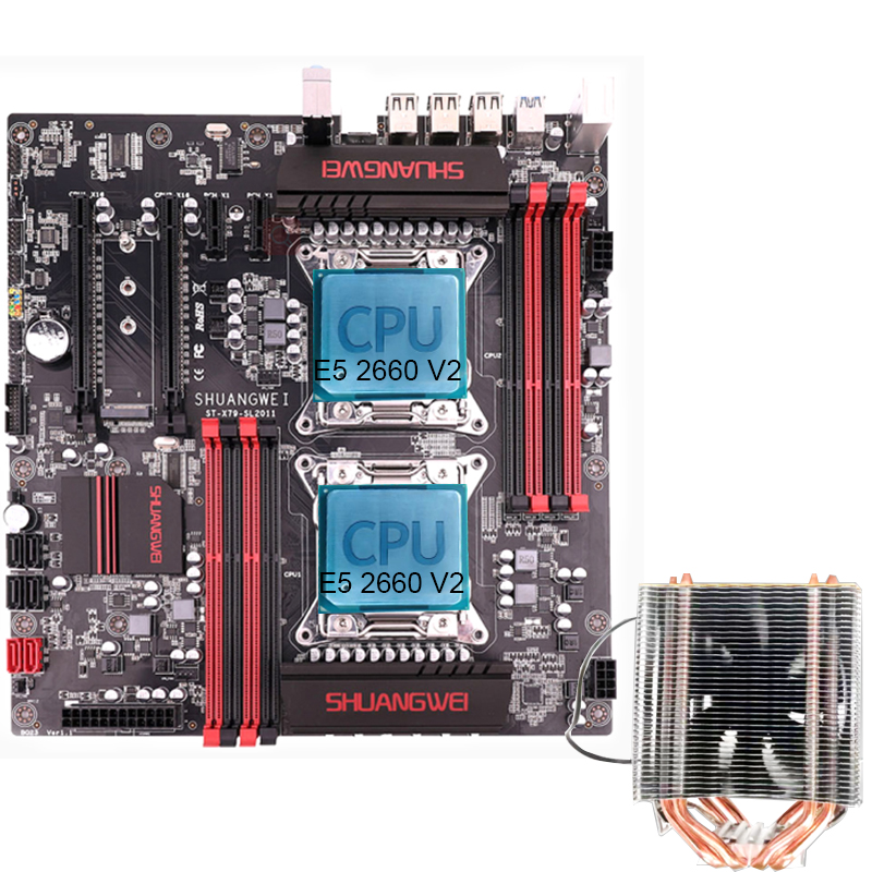 <font><b>X79</b></font> motherboard LGA 2011 with 2*<font><b>E5</b></font> <font><b>2680</b></font> <font><b>V2</b></font> + 2*CPU Cooler image