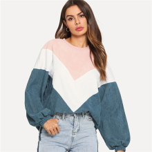 Fannic Color Cut and Sew Chevron Sweatshirt Preppy Round Neck Bishop Sleeve Pullovers Women Autumn Colorblock Sweatshirts cut and sew panel tee