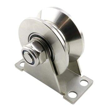 1Pack U-Type Stainless Steel Pulley Block Mute Bearings Groove Sliding Roller Track Wheel