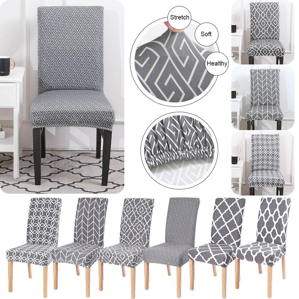 Gri serisi yemek sandalye kılıfı çıkarılabilir Slipcover yıkanabilir streç koltuk koruyucusu kapak ziyafet düğün otel 1/2/4/6 adet