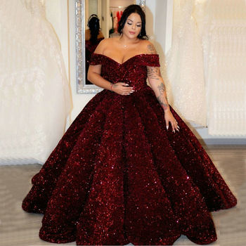 Sparkly African Wedding Dress Long Off Shoulder Sequines robe de mariee Lace Up Ball Gown Arabic Bridal Dresses 2020 Custom Made - discount item  30% OFF Wedding Dresses