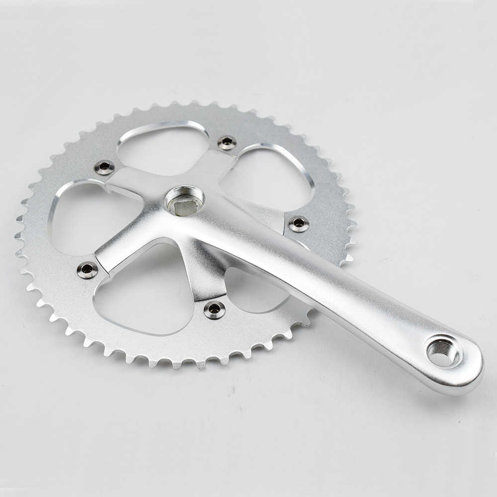 CNC Aleación de marcha única Fixie bielas de bicicleta 130 BCD ciclismo bicicleta manivela piezas piñón fijo pista bicicleta Chainwheel Set 48T * 170mm