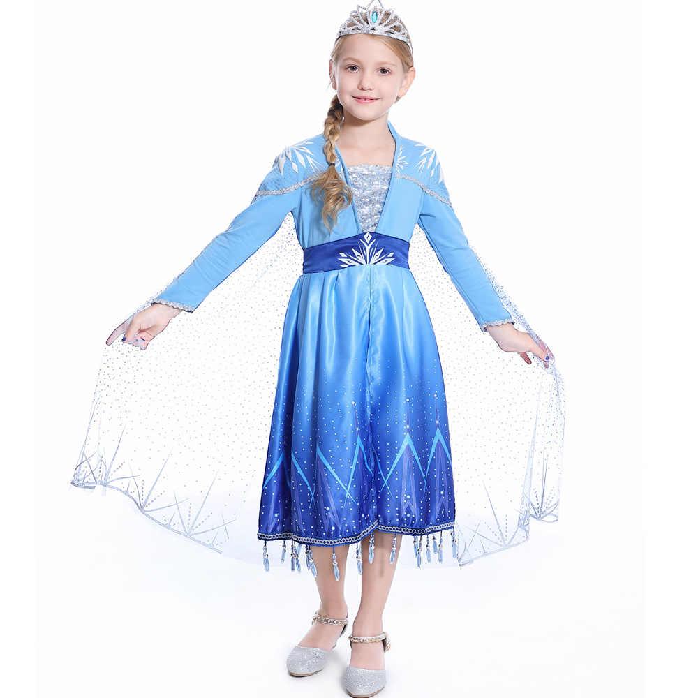 Новая Модель: 2 «Анна», «Эльза» платье принцессы комплект для девочек на Рождество или день рождения, Костюмы с платьем в стиле принцессы для детей без рукавов