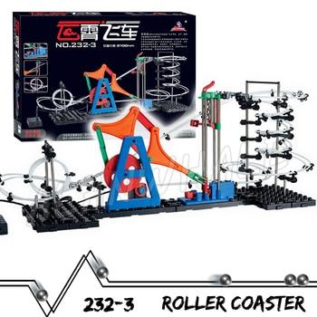 810cm Rail Marble Run Gear Drive Maze Race Roller Coaster Electric Elevator Model Building Boys STEM Toys Rolling ball Sculpture