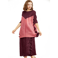 Latest Miyake fold dress 2019 spring summer broad leg pants wood ears clash color T shirt casual loose big size girl suit TP5139