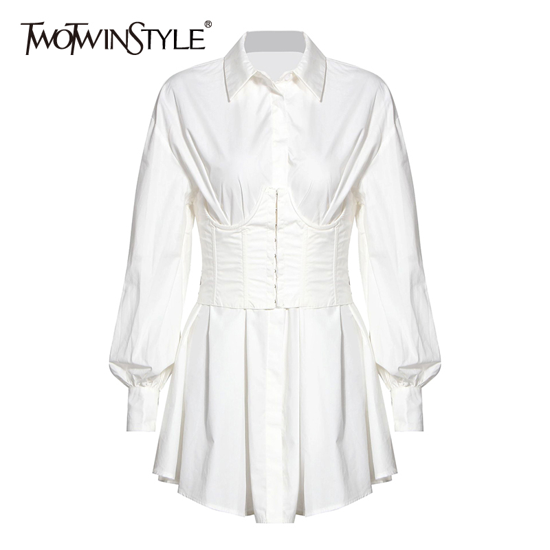 TWOTWINSTYLE Vintage Dresses For Female Lapel Collar Lantern Long Sleeve High Waist Tunic Ruched Elegant Dress Women Clothes New