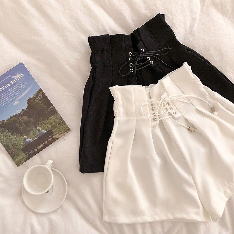 HELIAR 2020 Spring Drawstring Shorts Women's Black Pleated Waist Casual Solid Short Autumn Femme Elegant Spring Shorts For Women