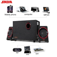 цены SADA D-225 Bluetooth Speaker  2.1 Subwoofer Stereo Bass PC Laptop Mobile Phone Speaker TF/U Disk FM Wood Music Player