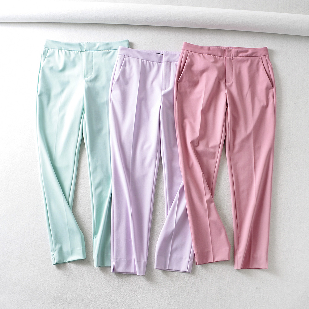 New Women Candy Colors Pockets Slim Pencil Pants Female Casual Hem Split Ankle Length Trousers Office Wear Pantalones Mujer P622