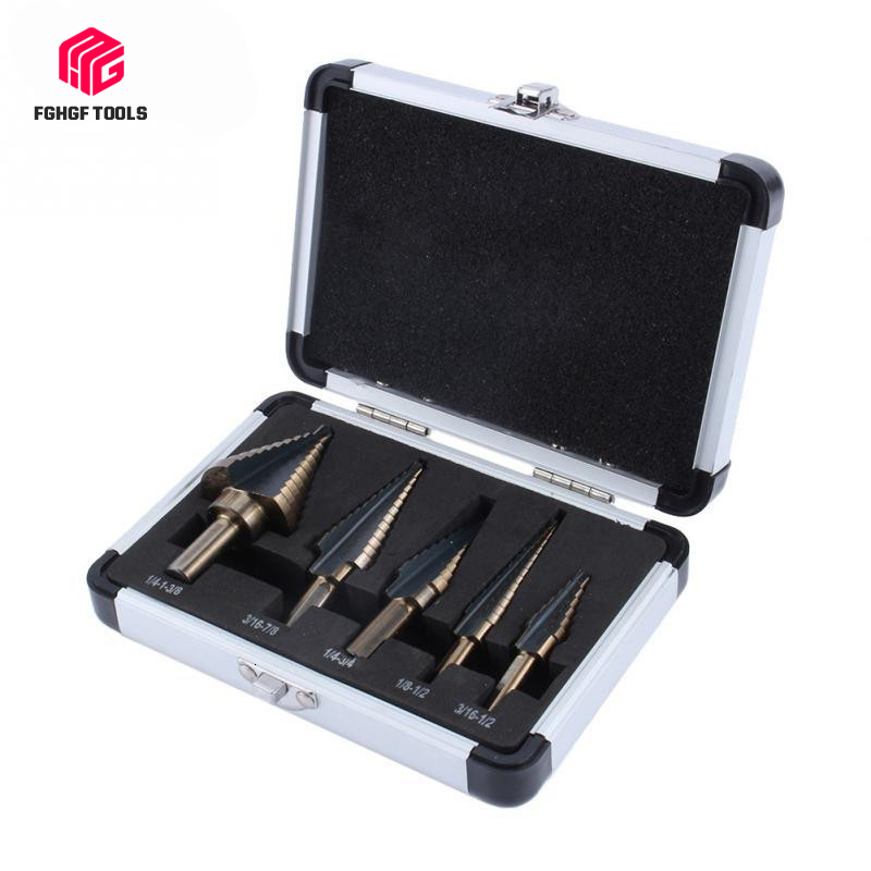 FGHGF 5pcs Cobalt Hss Titanium Cone Step Stepped Wood Drill Center Bits Hole Cutter Tool Bit Set With Aluminum Box Hot Tools