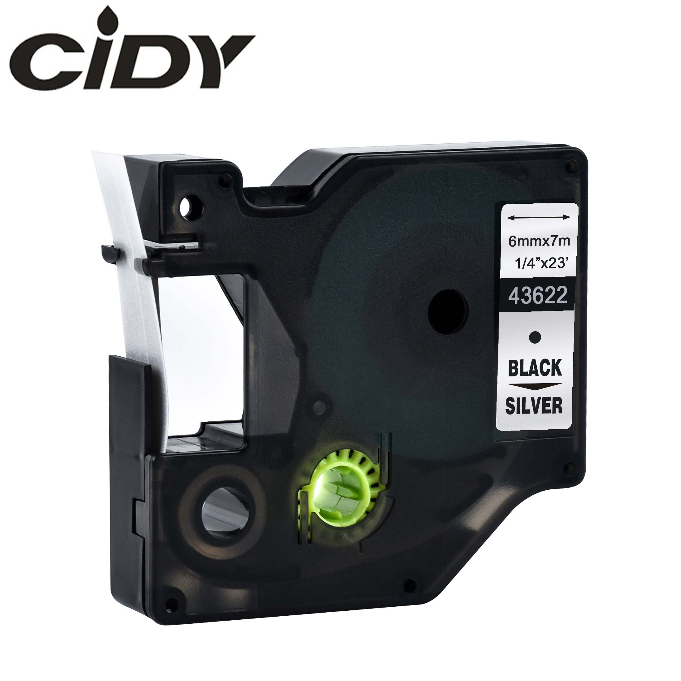 CIDY 43622 Black on Silver Compatible Dymo D1 6mm Label Tape Ribbons 43613 for Dymo Label Manager 160 280 210