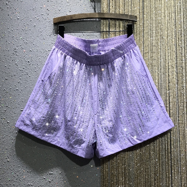 Thin Diamond Casual Shorts Female 2020 Summer New European Styke Personality Straight Thin Color Wide Leg Shorts Short Femme