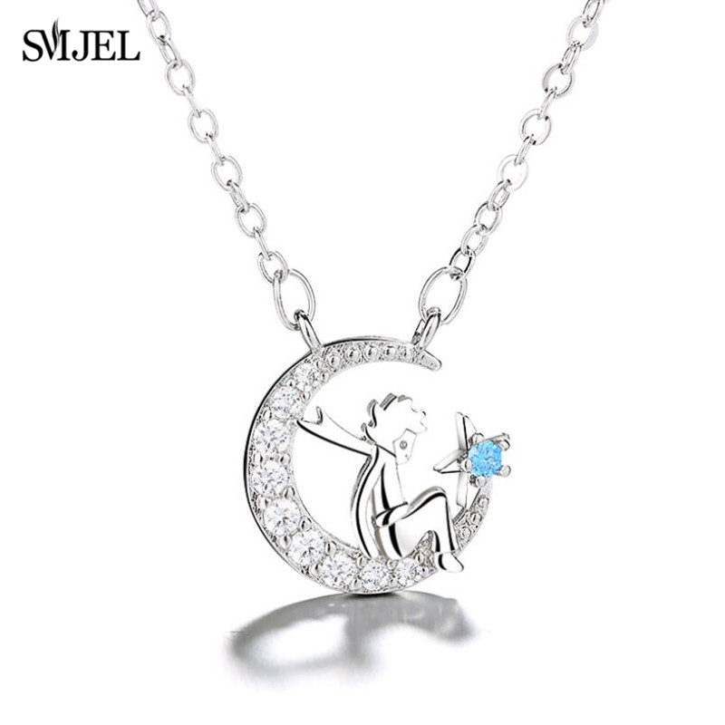 SMJEL New Arrival Round the Little Prince Necklace Moon Star Pendant Le petit prince Fashion Zircon Choker Jewelry Gift