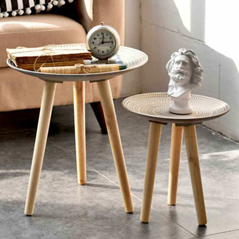 Tray-Bed Table Coffee-Table-Storage Tea-Fruit-Service-Plate Sofa-Side Wood Round Living-Room