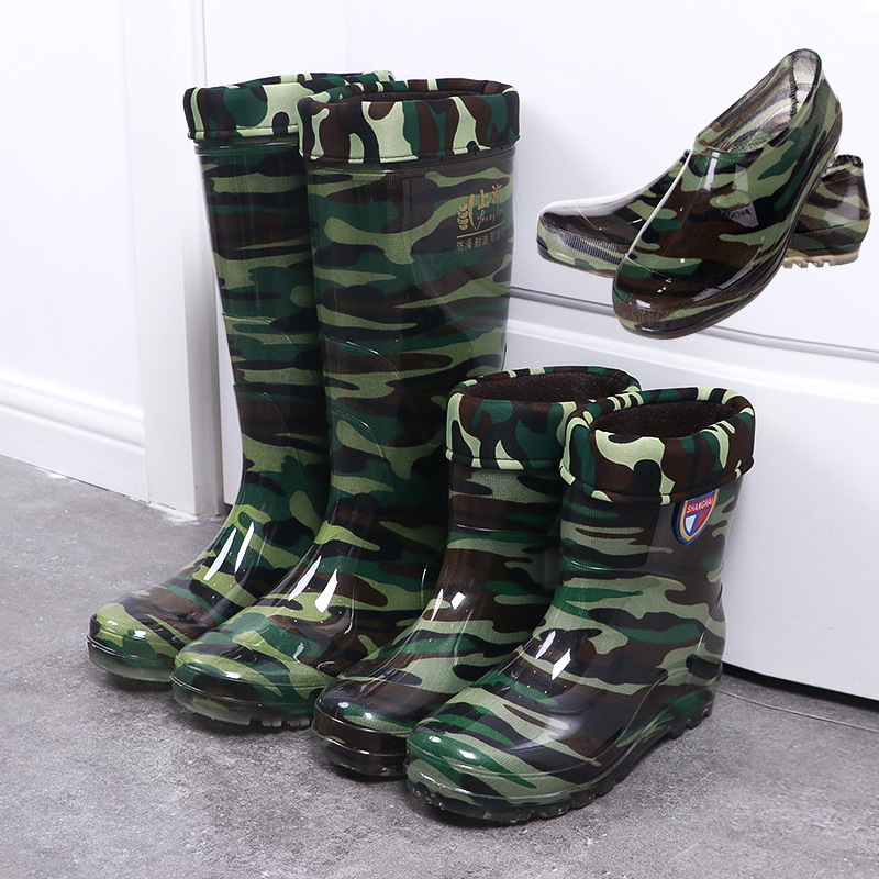 Warm And Plush Winter Water Shoes Antiskid Wear-resistant Labor Protection Rain Shoes Camouflage Waterproof Rain Boots For Men