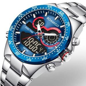 BOAMIGO 2020 New Fashion Mens Watches Stainless Steel Top Brand Luxury Sports Chronograph digital analog male Quartz Watch Men(China)