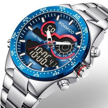 BOAMIGO 2020 New Fashion Mens Watches Stainless Steel Top Brand Luxury Sports men's digital analog blue Quartz Watch for Men man - discount item  90% OFF Men's Watches
