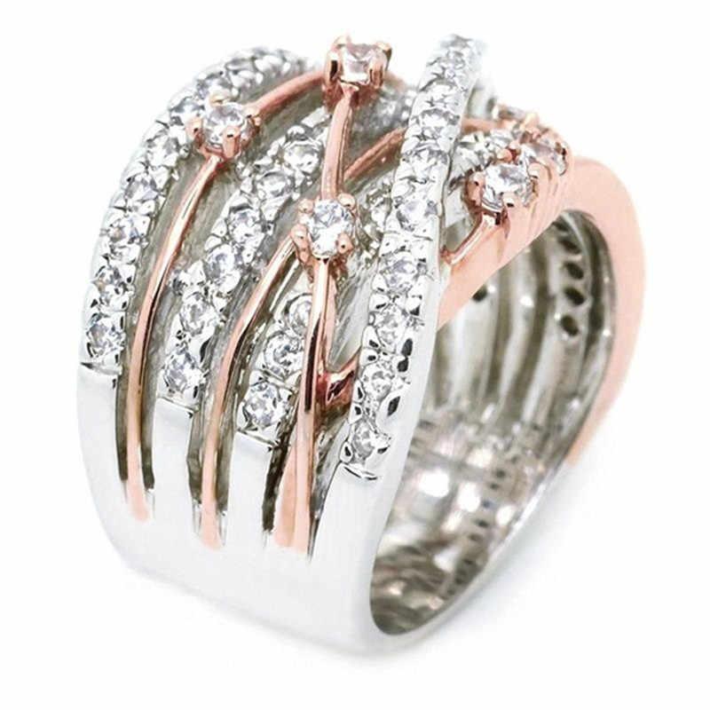 925 Perak Vintage Cross Cabang Cincin Pertunangan Mewah Zirkon Besar Pernikahan Cincin untuk Wanita Fashion Warna Rose Gold Perhiasan Hadiah