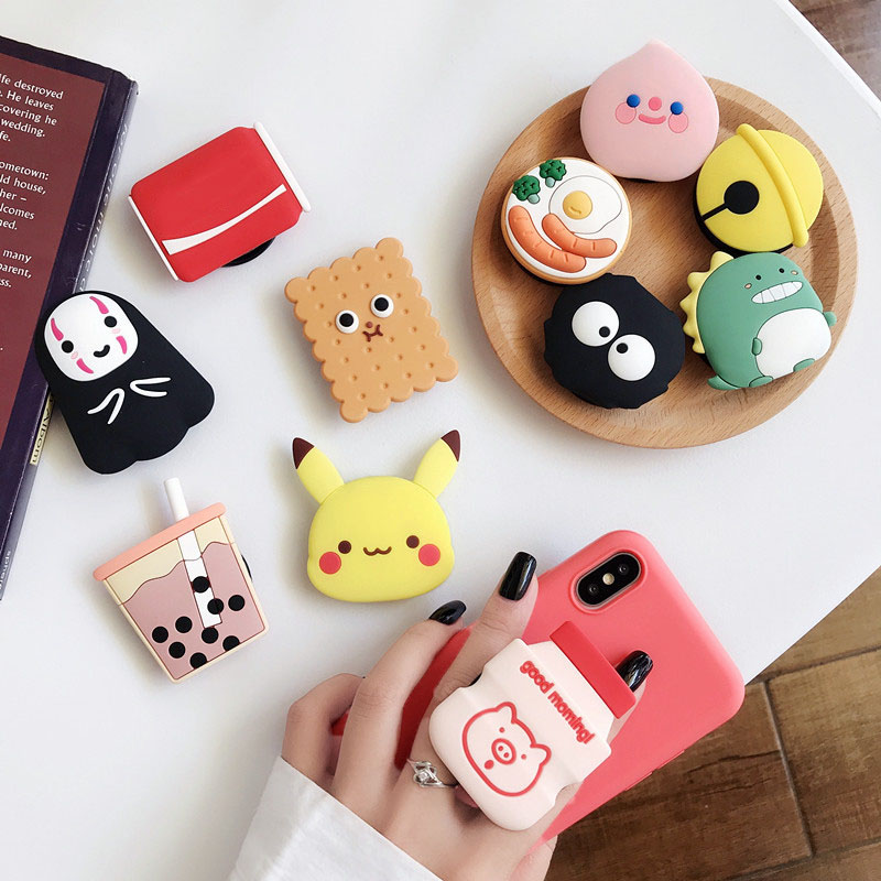Cute 3D Milk Folding Stand For Mobile Phone Holder For IPhone 11 Xs Max For Samsung For Huawei Phone Case Grip Kichstand Fundas