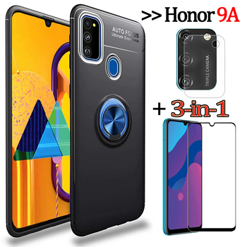 3-in-1 Phone Cases + Camera Glass for Honor 9A/MOA-LX9N Magnetic Ring Silicone Cover Honor9 A Honor-9 A Huawei Y6P Case Honor9A
