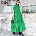 [EAM] Frauen Grün Plissee Große Größe Lange Kleid Neue Stehkragen Kurzarm Lose Fit Mode Flut Frühjahr sommer 2021 1DD7047