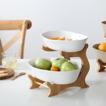 2 Tier Ceramic Fruit Plate Dessert Storage Rack Tray Snack Food Container Kitchen Dinner Accessories Serving Dish Bowl Organizer
