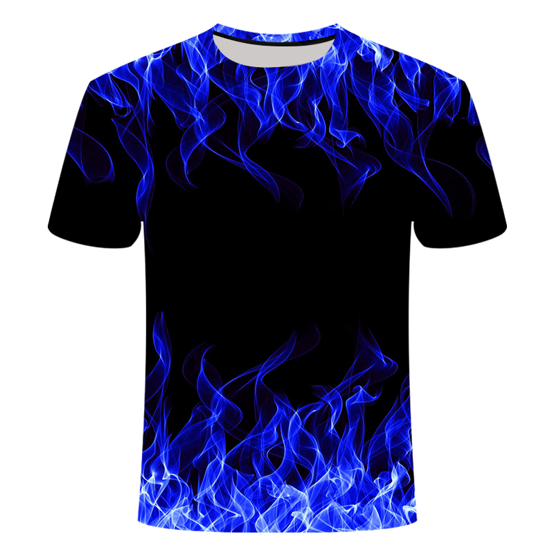 High Quality Fashion Sales Men's New Summer T-shirt With Round Neck Short Sleeve Blue Green Red Purple Flame 3D Printed Top